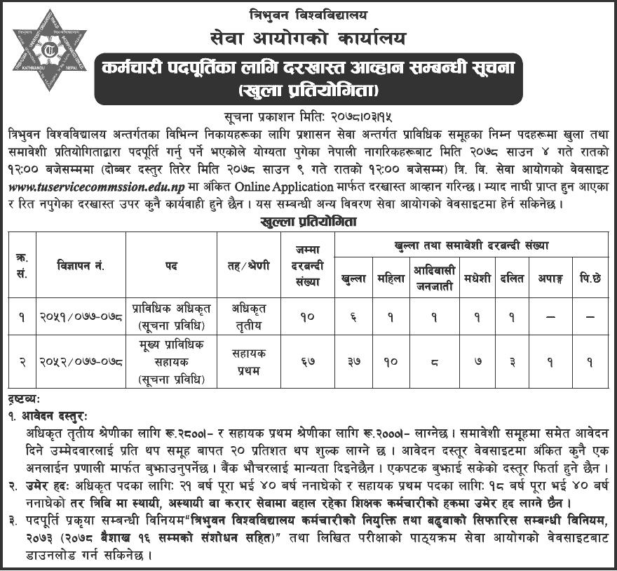 Tribhuvan-University-Service-Commission-(TUSC)-Vacancy-2078