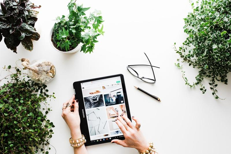 hands using a tablet on a white table with houseplants as a person browses Beyond Bamboo
