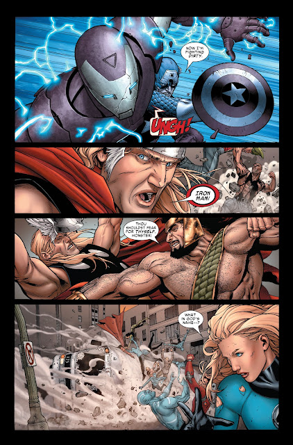 Captain America beating Ironman while Hercules beats Thor