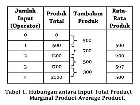 Hubungan antara Input-Total Product-Marginal Product-Average Product - www.ajarekonomi.com