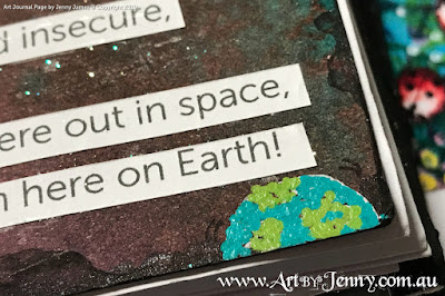 closeup of the Earth for Galaxy Song on the galaxy mixed media artwork by Jenny James