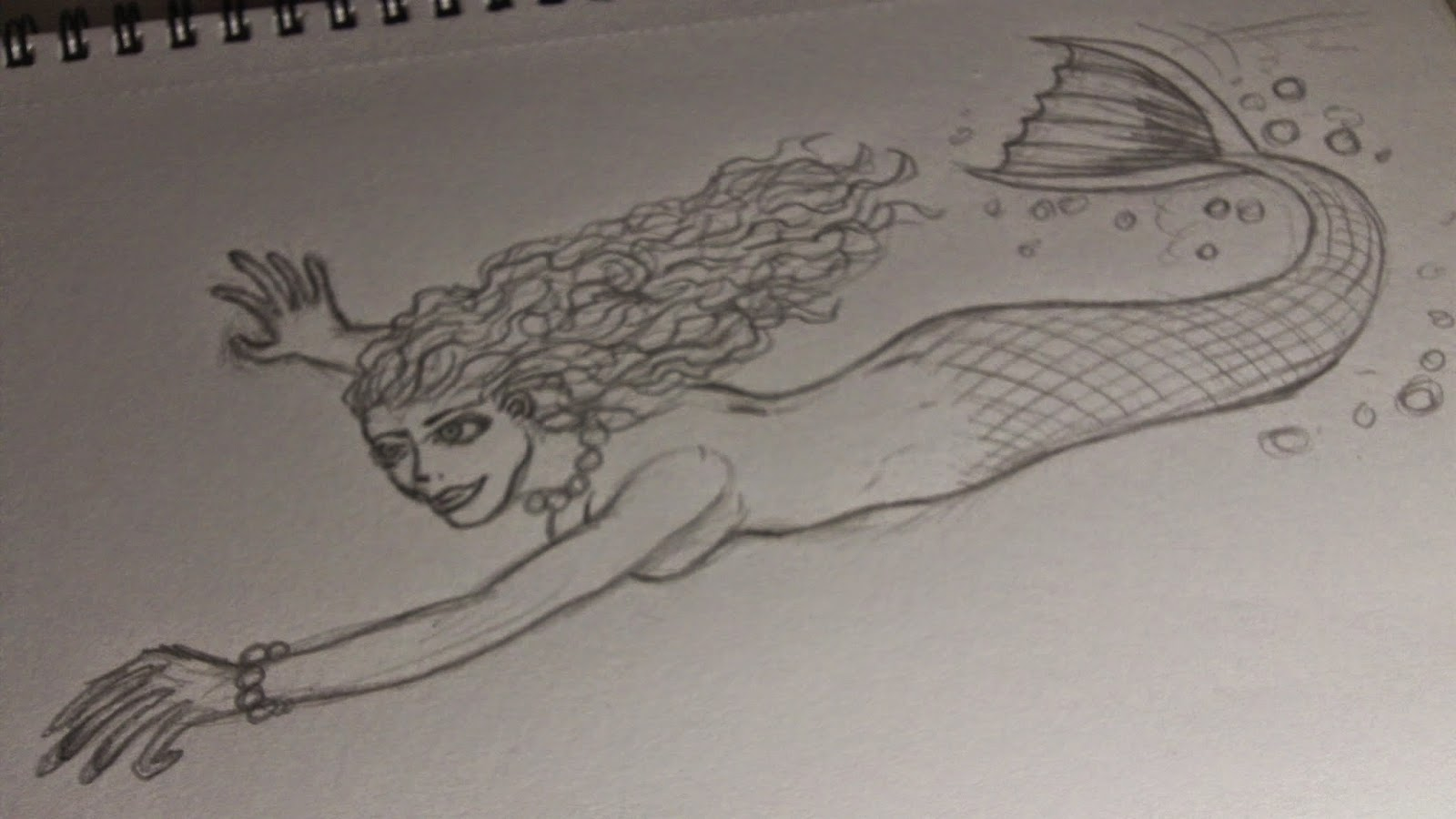 mermaid pencil sketch