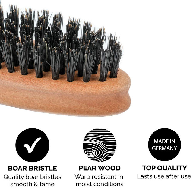 Zeus 100% Boar Bristle Pocket Beard Brush, Medium-Firm Bristles