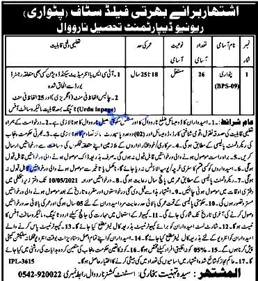 Latest Jobs in Revenue Department Narowal Recruitment Patwari (BPS_09) 2021