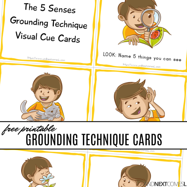 Free printable coping skills cards for kids to practice the 5 senses grounding technique - a great tool for practicing mindfulness
