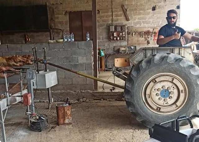 Καλύβια Αγρινίου: Πώς χρησιμοποίησε το τρακτέρ του για το ψήσιμο του οβελία! (φωτο)