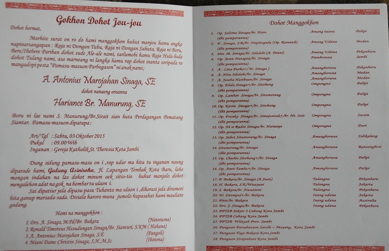 Contoh Surat Undangan Pernikahan Orang Batak