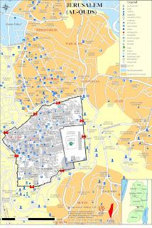 خريطة لمدينة القدس وحي الشيخ جراح