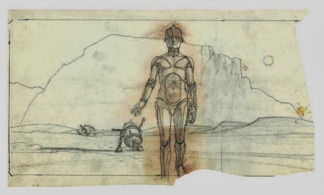 Intial C3Po sketch inspired by the Maschinenmensch