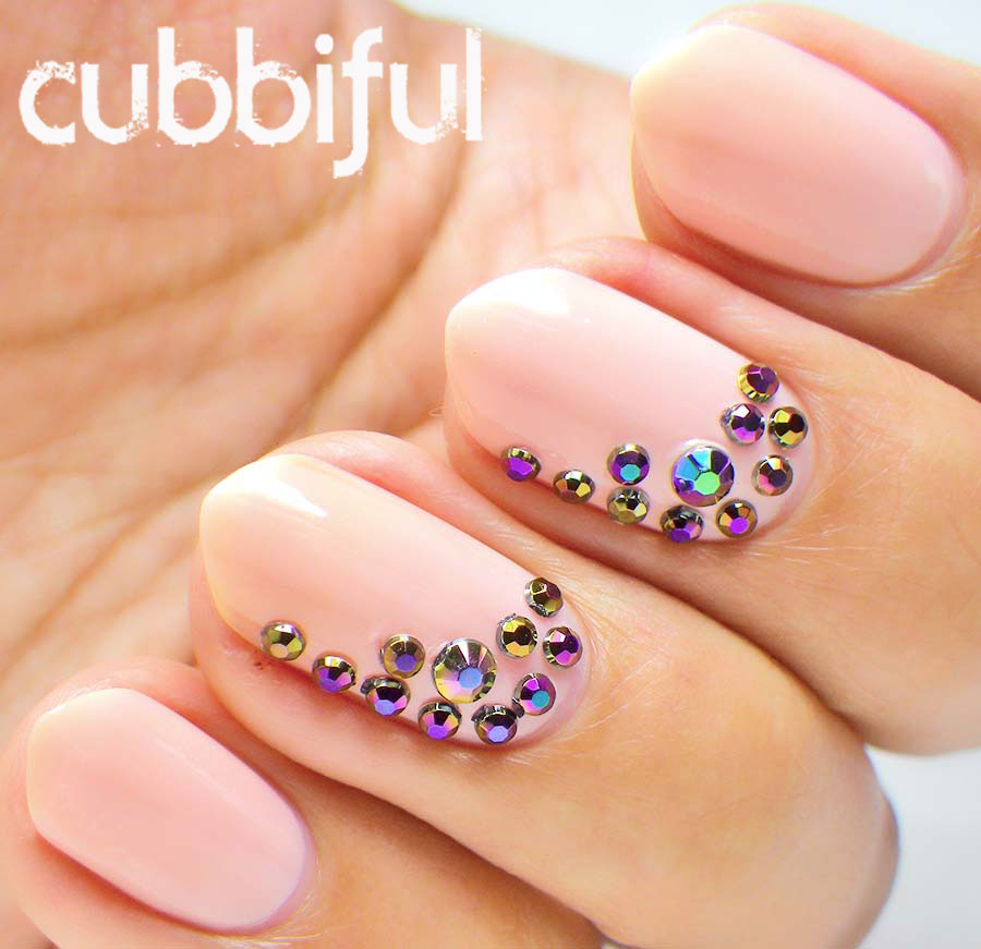 Nude Nails and Rhinestones