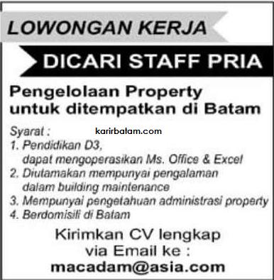lowongan kerja property macadam lowongan kerja batam 2018