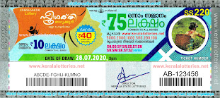 Kerala Lottery Results 28-07-2020 Sthree Sakthi SS-220 Lottery Result-keralalotteries.net