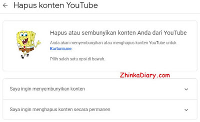 Menghapus channel Youtube