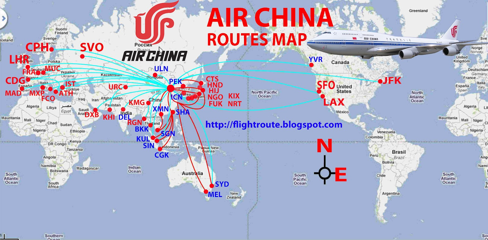 International Flights Air China Routes Map