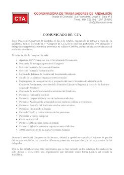 Comunicado de CTA sobre su 5º Congreso