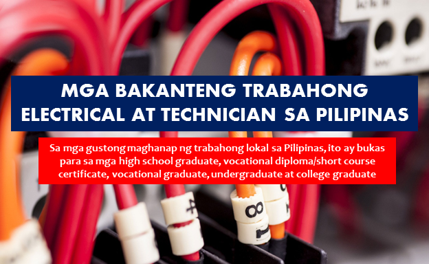 "Are you looking for a local jobs in the Philippines? The following are job vacancies for you. If you are interested, you may contact the employer/agency listed below to inquire further or to apply.  ""ADVERTISEMENTS""    JOB VACANCIES  1. ELECTRICIAN Focus Global Inc. Less than 1-year experience Telephone No.: 02-705-9999 WORK LOCATION Address: Pioneer Corner Reliance Streets, Mandaluyong Philippines  2. ELECTRICIAN BE3 Power Solutions Enterprise Min 2 years (Less than 1-year experience) Website: http://www.be3powersolutions.com Telephone No.: 63 3 721 1743, 63 2 211 8442 WORK LOCATION Address: Angono, Rizal  3. BUILDING ELECTRICIAN/MASON FINISHER/MASTER PLUMBER/CARPENTER/PIPE FITTER-MAKATI Dempsey Resource Management Inc. (Recruitment Firm) Min 1 year (1-4 Yrs Experienced Employee) Email: hrrykoumeka@gmail.com Tel no.: 09158213823 Address: Philippines - National Capital Reg - Makati  4. INDUSTRIAL ELECTRICIAN Bagong Pag-asa Engineering PHP 13,000 - PHP 16,900 Min 2 years (1-4 Yrs Experienced Employee) Telephone No.: 4444896 Address: Philippines - National Capital Reg - Valenzuela City - 19 B. Mendoza Alley cor. F. Dela Cruz St., Maysan  5. ELECTRICIAN ASIAPRO MULTI-PURPOSE COOPERATIVE (Recruitment Firm) PHP 12,800 - PHP 16,600 Min 1 year (1-4 Yrs Experienced Employee) Telephone No.: +63 2 747 2777 WORK LOCATION Address: United Nations, Manila & Novaliches, Quezon City  6. ELECTRICIAN LBP Service Corporation (Recruitment Firm) Min 1 year (1-4 Yrs Experienced Employee) WORK LOCATION Address: Petron Megaplaza, Sen. Gil J. Puyat Avenue, Makati, NCR, Philippines  7. ELECTRICIAN QUEZON CITY Dempsey Resource Management Inc. (Recruitment Firm) PHP 9,000 - PHP 10,400 Less than 1-year experience WORK LOCATION Address: 5th Floor, Vicars Building, 31 Visayas Ave. Brgy. Vasra, Quezon City  8. ELECTRICIAN Arlo Aluminum Co., Inc. Less than 1-year experience Website: http://www.arloaluminum.net Telephone No.: 6412573 WORK LOCATION Address: 231 Dr. Sixto Antonio Avenue, Brgy. Caniogan, Pasig City, Metro Manila, Philippines  9. INSTALLATION TECHNICIAN (ELECTRICIAN) Mysolutions Inc. Min 5 years (Supervisor/5 Yrs & Up Experienced Employee) WORK LOCATION Address:2F 201 Del Monte Avenue, Quezon City, Metro Manila, Philippines  10. BUILDING ELECTRICIAN LHI REAL ESTATE CORPORATION Min 2 years (1-4 Yrs Experienced Employee) Telephone No.: 817-5453 WORK LOCATION Address: Glass Tower Bldg. 115 Carlos Palanca Jr. St., Legaspi Village Makati City  11. INDUSTRIAL ELECTRICIAN FOR BULACAN, QUEZON CITY, AND CAINTA RIZAL*** Dempsey Resource Management Inc. (Recruitment Firm) PHP 10,000 - PHP 11,000 Min 1 year (1-4 Yrs Experienced Employee) WORK LOCATION Address: 5th Floor, Vicars Building, 31 Visayas Ave. Brgy. Vasra, Quezon City  12. URGENT! AUTO ELECTRICIANS (QUEZON CITY) Business Trends Philippines (A Kelly Services Company) (Recruitment Firm) Min 1 year (1-4 Yrs Experienced Employee) WORK LOCATION Address: Unit 1603 Jollibee Plaza, Emerald Avenue Ortigas Center Pasig City  13. ELECTRICIAN Jardine Energy Control Company Inc. PHP 14,000 - PHP 14,200 Min 2 years (1-4 Yrs Experienced Employee) Website: http://www.ph.jec.com Telephone No.: 843 6020 WORK LOCATION Address: JEC Philippines, G/F Jardine Bldg., JM Compound Faraday St., Barangay San Isidro cor Pres. Sen Osmena Street, Makati City  14. ELECTRICIAN Covenant Construction Group, Inc. PHP 10,400 - PHP 12,400 Min 1 year (1-4 Yrs Experienced Employee) WORK LOCATION Address: 118 Congressional Ave, Brgy. Bahay Toro Project 8 Quezon City, Philippines  15. REGISTERED MASTER ELECTRICIAN Maynilad Water Services, Inc. PHP 12,000 - PHP 14,000 Min 2 years (1-4 Yrs Experienced Employee) WORK LOCATION Address: MWSS Cmpd. Katipunan Rd. Balara, Quezon City  16. ELECTRICIANS FOR CALAMBA LAGUNA New Personnel Builders and Consultancy Services Inc. (Recruitment Firm) Less than 1-year experience Multiple work locations Website: http://pbcs.com.ph/ Telephone No.: (02)5676191 local 311 WORK LOCATION Address: 2564 Arellano Avenue Corner Consuelo Street Malate, Manila  17. AUTO ELECTRICIAN ASIAPRO MULTI-PURPOSE COOPERATIVE (Recruitment Firm) PHP 13,000 - PHP 15,000 Min 1 year (1-4 Yrs Experienced Employee) Telephone No.: +63 2 747 2777 Address: MDC ConQrete Inc. A.P. Reyes St. Circuit Makati City (formerly Sta Ana Race Track)Besides Brgy. Hall of Carmona  18. INDUSTRIAL ELECTRICIAN Centra Electrosystems, Inc. PHP 15,000 - PHP 17,000 Min 3 years (1-4 Yrs Experienced Employee) Telephone No.: 511-1969 WORK LOCATION Address: 1404A Richville Corporate Tower, 1107 Alabang Zapote Rd., Madrigal Business Park, Alabang  19. ASSISTANT ELECTRICIAN Company Confidential PHP 12,766 - PHP 20,000 Min 3 years (1-4 Yrs Experienced Employee) Address: Philippines - National Capital Reg - Manila City  20. MULTI-SKILLED TECHNICIAN (AIRCON OR/AND ELECTRICIAN) Consolidated Building Maintenance, Inc. Min 1 year (1-4 Yrs Experienced Employee) Website: http://www.atalian.ph/ Telephone No.: 7214321 WORK LOCATION Address: 4th Floor OAC Building, #27 San Miguel Avenue Brgy. San Antonio, Ortigas Centre Pasig City, 1605 Philippines ""ADVERTISEMENTS""    ""Sponsored Links"" 21. BUILDING ELECTRICIAN First Corinthians Multi-Purpose Cooperative (Recruitment Firm) PHP 12,766 - PHP 18,000 Min 2 years (1-4 Yrs Experienced Employee) Telephone No.: 63-2-9101895 WORK LOCATION Address: Unit 618 Cityland Shaw Tower, Shaw Blvd. cor St. Francis St., Wack Wack, Mandaluyong City  22. URGENT! AUTO ELECTRICIANS Business Trends Philippines (A Kelly Services Company) (Recruitment Firm) Min 2 years (1-4 Yrs Experienced Employee) WORK LOCATION Address: Unit 1603 Jollibee Plaza, Emerald Avenue Ortigas Center Pasig City  23. SKILLED ELECTRICIAN STA. ANA BUILDERS (SABI) INC. Min 1 year (1-4 Yrs Experienced Employee) WORK LOCATION Address:3566 Durango St. Palanan, Makati City  24. BUILDING ELECTRICIAN, MAINTENANCE (URGENT!!!) AH LORDSONS INCORPORATED Min 2 years (1-4 Yrs Experienced Employee) Website: http://www.ahlordsons.com Telephone No.: 293-7319, 293-5554, 294-0619 WORK LOCATION Address: 402 E. Custodio St., Barangay Santulan, Malabon City  25. MASTER ELECTRICIAN G.E. Antonino Inc. Min 4 years (1-4 Yrs Experienced Employee) WORK LOCATION Address: T.M. Kalaw, Manila, Philippines  26. ELECTRICIAN Asya Design Partner PHP 11,544 - PHP 15,000 Min 1 year (1-4 Yrs Experienced Employee) Website: http://www.asyadesign.com.ph Telephone No.: 8085888 WORK LOCATION Address: Coral Way, Pasay City, Metro Manila, Philippines  27. BUILDING ELECTRICIAN OR BUILDING AIRCON TECHNICIAN Aseana Holdings Incorporated Min 1 year (1-4 Yrs Experienced Employee) Website: http://www.aseanaholdingsinc.com Telephone No.: (02) 854 5711 WORK LOCATION Address: 3/F Aseana Powerstation Bldg. D. Macapagal Blvd. corner Bradco Ave.  28. AIRCON SERVICE TECHNICIAN Unos Aircon Corp. PHP 15,000 - PHP 19,500 Min 1 year (Less than 1-year experience) Address: Philippines - National Capital Reg - Makati City - Salcedo Village  29. INK TECHNICIAN DIC Philippines Inc PHP 13,000 - PHP 16,900 Min 1 year (1-4 Yrs Experienced Employee) Website: http://www.dic-global.com/en/index.html Telephone No.: 63-2-838 8888 WORK LOCATION Address: Taguig City, Metro Manila, Philippines  30. IT STAFF ( IT HELPDESK, TECH SUPPORT, PC TECHNICIAN) NO EXP REQ! APPLY NOW! Spark Personnel Development and Training Services Inc. (Recruitment Firm) PHP 14,000 - PHP 18,200 Less than 1-year experience Email: careers@sparkservicesph.com Tel no.: 0917-775-3891/ 02-8938225 WORK LOCATION Address: Unit 605, ITC Building, 337 Gen. Gil Puyat St., Makati City  31. FACILITIES TECHNICIAN Asian Eye Institute, Inc. Min 1 year (1-4 Yrs Experienced Employee) Website: http://www.asianeyeinstitute.com Telephone No.: 028982020 WORK LOCATION Address:8/F Phinma Plaza Building, Rockwell Center, Makati City  32. QC LABORATORY TECHNICIAN General Metal Container Corporation of the Phils. Min 2 years (1-4 Yrs Experienced Employee) Website: http://gemeco.com.ph Telephone No.: 9361495  WORK LOCATION Address: Novaliches, Quezon City, Philippines (10 mins. from Mindanao Avenue)  33. HYBRID PREMISE TECHNICIAN Skycable Corporation Less than 1-year experience Website: http://careers.abs-cbn.com WORK LOCATION Address: Mandaluyong  34. CHEMIST / CHEMICAL TECHNICIAN ( BINAN, LAGUNA:20K! ) JPH1 SAGASS CONSULTING (Recruitment Firm) PHP 15,000 - PHP 20,000 Min 4 years (1-4 Yrs Experienced Employee) WORK LOCATION Address:  139 Corporate Center, Makati City, Philippines  35. CCTV COMPUTER TECHNICIAN Opnetworks Inc. PHP 12,766 - PHP 13,000 Less than 1-year experience Website: http://www.openpinoy.com Telephone No.: 02 722 0909 WORK LOCATION Address: Unit 101-102 Ground Floor E-Square Bldg Greenhills San Juan City  36. FACILITIES MAINTENANCE SPECIALIST / TECHNICIAN (BUILDING AND ROVING) Rosa Fiore House Corp. Min 3 years (1-4 Yrs Experienced Employee) Address: AGC Building 5148 Filmore Street cor. Zobel Roxas St. Barangay Palanan, Makati CIty  37. TECHNICIAN (GLOBAL CITY) Honda Cars Makati, Inc Min 1 year (1-4 Yrs Experienced Employee) Website: http://www.hondamakati.com.ph/ Telephone No.: (02) 755-8500 WORK LOCATION Address: Honda Alabang - Zapote Road, Muntinlupa, Metro Manila, Philippines  38. AIRCON TECHNICIAN Golden Donuts, Inc. PHP 10,000 - PHP 12,000 Min 1 year (1-4 Yrs Experienced Employee) Website: http://dunkindonuts.ph/ Telephone No.: 02 721 9185 WORK LOCATION Address: 733 Aurora Boulevard, Quezon City, Metro Manila, Philippines  39. GAS TECHNICIAN - PLUMBER GOMECO Group of Companies PHP 12,506 - PHP 12,766 Less than 1-year experience Telephone No.: 292 4421 WORK LOCATION Address: No. 2 Rincon Street, Malinta, Valenzuela City  40. RAC TECHNICIAN GOMECO Group of Companies PHP 12,506 - PHP 12,766 Less than 1-year experience Telephone No.: 292 4421 WORK LOCATION Address: No. 2 Rincon Street, Malinta, Valenzuela City  41. FACILITIES TECHNICIAN Jardine Energy Control Company Inc. PHP 13,500 - PHP 14,000 Min 2 years (1-4 Yrs Experienced Employee) Website: http://www.ph.jec.com Telephone No.: 843 6020 WORK LOCATION Address:  JEC Philippines, G/F Jardine Bldg., JM Compound Faraday St., Barangay San Isidro cor Pres. Sen Osmena Street, Makati City  42. SENIOR TECHNICIAN Campaign WIS Complete Solutions Phils. Inc. Min 1 year (1-4 Yrs Experienced Employee) WORK LOCATION Address: Unit 2110 Cityland 10 Tower 1, 156 H.V. Dela Costa St., Ayala North, Makati City  43. LEADMAN TECHNICIAN EVER PLUS SUPERSTORE. INC. Min 1 year (1-4 Yrs Experienced Employee) Website: http://WWW.EVER.PH Telephone No.: 735-6901 WORK LOCATION Address: 1129 Natividad Lopez St. Ermita Manila  44. REFRIGERATION AND AIRCON TECHNICIAN PRIMECOOL AIRCONDITIONING CORP. PHP 13,000 - PHP 16,900 Min 1 year (1-4 Yrs Experienced Employee) Telephone No.: 920-2199 WORK LOCATION Address: 139 Road 20, Brgy. Bahay Toro, Project 8, Quezon City  45. AIRCON TECHNICIAN Mayo Quatro Co., PHP 10,000 - PHP 14,000 Less than 1-year experience Website: http://phcleanqueens.wixsite.com Telephone No.: 02 631 3587 WORK LOCATION Address: 48A General Capinpin St., Brgy. San Antonio, Pasig City  46. FIELD TECHNICIAN / INSTALLER Coreserv Management Inc. (Recruitment Firm) PHP 12,500 - PHP 15,000 Less than 1 year experience Address: 181 JP Rizal St. Project 4 Quezon City, Philippines  47. SERVICE TECHNICIAN Audio-Video Solutions Corporation PHP 15,000 - PHP 18,000 Min 2 years (1-4 Yrs Experienced Employee) WORK LOCATION Address: 1081 EDSA, Quezon City, NCR, Philippines  48. MULTI-SKILLED TECHNICIANS Colliers International Philippines Min 2 years (1-4 Yrs Experienced Employee) Website: http://www.colliers.com Telephone No.: 8889988 WORK LOCATION Address: 11F Frabelle Business Center, 111 Rada Street, Makati, Metro Manila, Philippines  49. CIVIL WORKS TECHNICIAN - CARPENTER PAINTER MASON PLUMBER Colliers International Philippines PHP 12,766 - PHP 15,000 Min 2 years (1-4 Yrs Experienced Employee) Website: http://www.colliers.com Telephone No.: 8889988 WORK LOCATION Address: 11F Frabelle Business Center, 111 Rada Street, Makati, Metro Manila, Philippines  50. REFRIGERATOR AND AIRCON TECHNICIAN San Roque Supermarket Retail Systems, Inc. PHP 16,000 - PHP 20,800 Min 1 year (1-4 Yrs Experienced Employee) WORK LOCATION Address: # 68 Dumalay, Novaliches, Quezon City  SOURCE: jobstreet.com.ph  DISCLAIMER: Thoughtskoto is not affiliated to any of these companies. The information gathered here is verified and gathered from the jobstreet website.  RELATED POSTS:   Government Job Openings In The Philippines Are you looking for a government jobs in the Philippines? The following are job vacancies for you. If you are interested, you may contact the employer/agency listed below to inquire further or to apply.  Are you looking for a government jobs in the Philippines? The following are job vacancies for you. If you are interested, you may contact the employer/agency listed below to inquire further or to apply.  ""ADVERTISEMENTS""    JOB VACANCIES  1. COMPANY NURSE (GOVERNMENT) LBP Service Corporation (Recruitment Firm) Min 1 year (1-4 Yrs Experienced Employee) Address : Philippines - National Capital Reg - Manila City - Roxas Blvd.  2. GOVERNMENT LIAISON OFFICER Shang Properties Inc. Min 5 years (Supervisor/5 Yrs & Up Experienced Employee) Philippines - National Capital Reg - Mandaluyong Website: http://www.shangproperties.com/ Telephone No.: (632)370 2700 WORK LOCATION Address: Shaw Boulevard, Mandaluyong City, Philippines  3. CERTIFIED PUBLIC ACCOUNTANT (GOVERNMENT) LBP Service Corporation (Recruitment Firm) Less than 1 year experience Address: Philippines - National Capital Reg - Malate, Manila  4. BANK TELLER III (TUGUEGARAO - REGIONAL GOVERNMENT CENTER) Development Bank of the Philippines Min 1 year (1-4 Yrs Experienced Employee) Website: http://www.devbnkphl.com Telephone No.: 63-2-8189511 WORK LOCATION Address: 4/F Human Resource Mgmt., Development Bank of the Philippines Bldg. Sen Gil Puyat Ave. corner Makati Ave., Makati  5. ADMIN ASSISTANT (GOVERNMENT) LBP Service Corporation (Recruitment Firm) PHP 11,000 - PHP 12,000 Less than 1 year experience Address: Philippines - National Capital Reg - Malate, Manila  6. TREASURY OPERATIONS OFFICER IV - (NATIONAL GOVERNMENT DEBT ACCOUNTING DIVISION) Bureau of the Treasury Min 2 years (1-4 Yrs Experienced Employee) Website: http://www.treasury.gov.ph/ Telephone No.: 2-5280892 