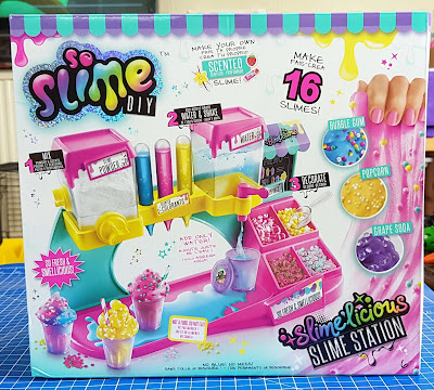 So Slime DIY Slimelicious Station box with illustrations of contents in use