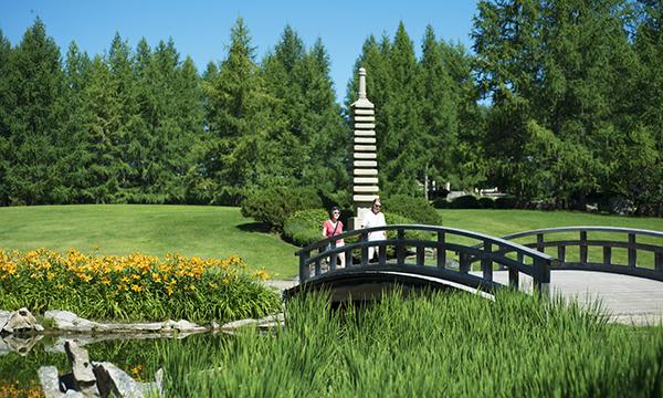 A view of the Kurimoto Japanese Garden at the U of A Botanical Garden