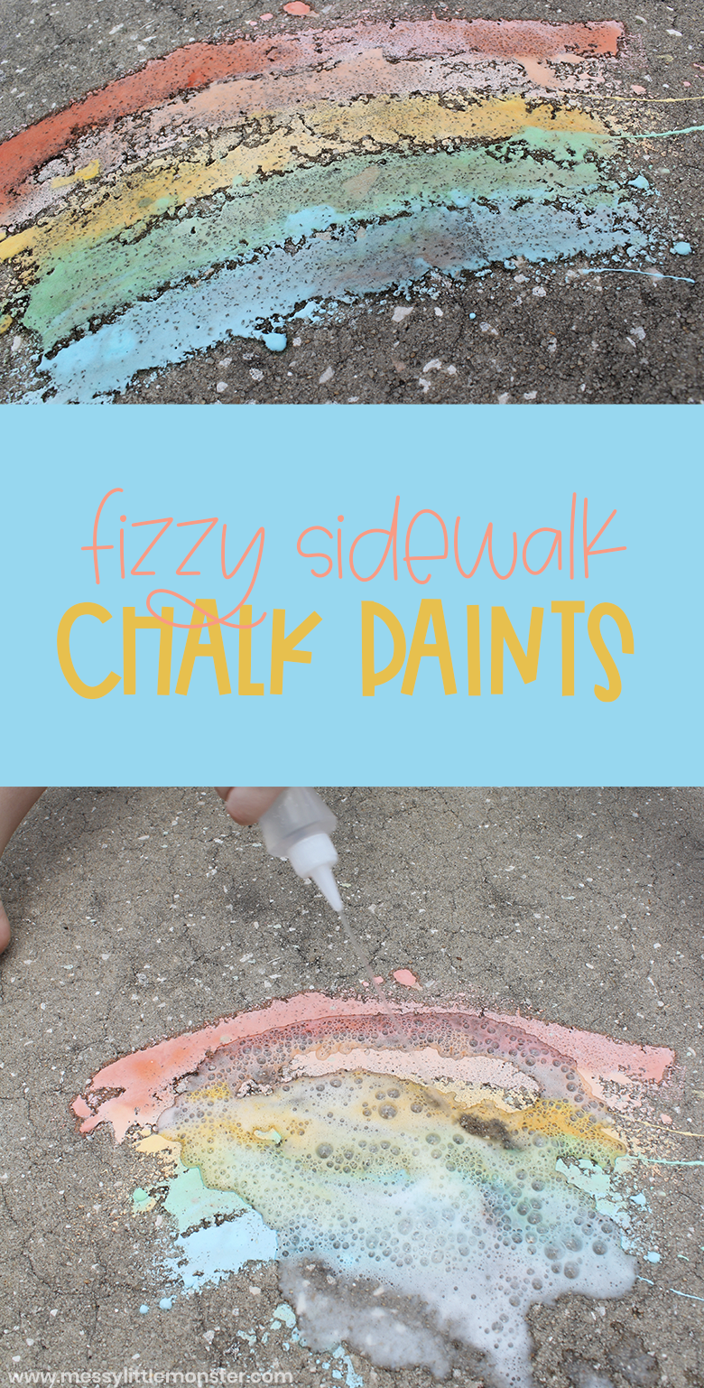 How to make fizzy sidewalk chalk paint to make outdoor art for kids