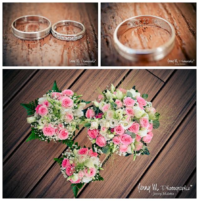 photo bouquet de la mariée roses roses, photo alliances or blanc