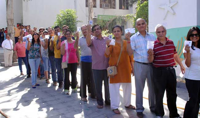 People Standing In Queue To Give Their Value Vote