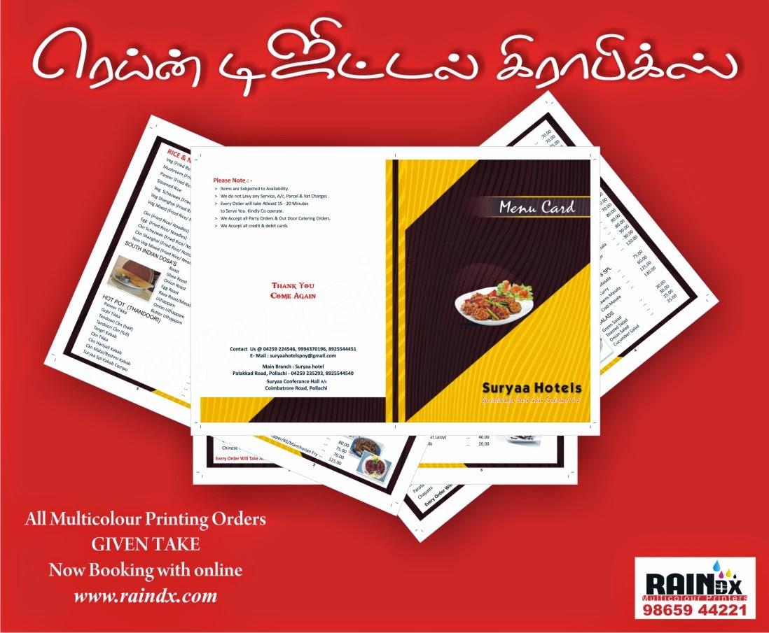 Hotel Menu Card Suryaa Hotels Rain Digital Graphics
