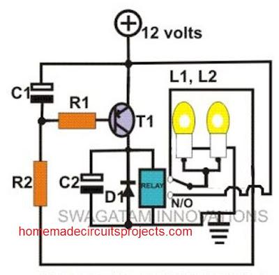 single relay based bike flasher circuit
