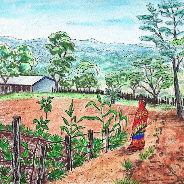 African Landscape School Garden Ethiopia Watercolor by Irina Sztukowski