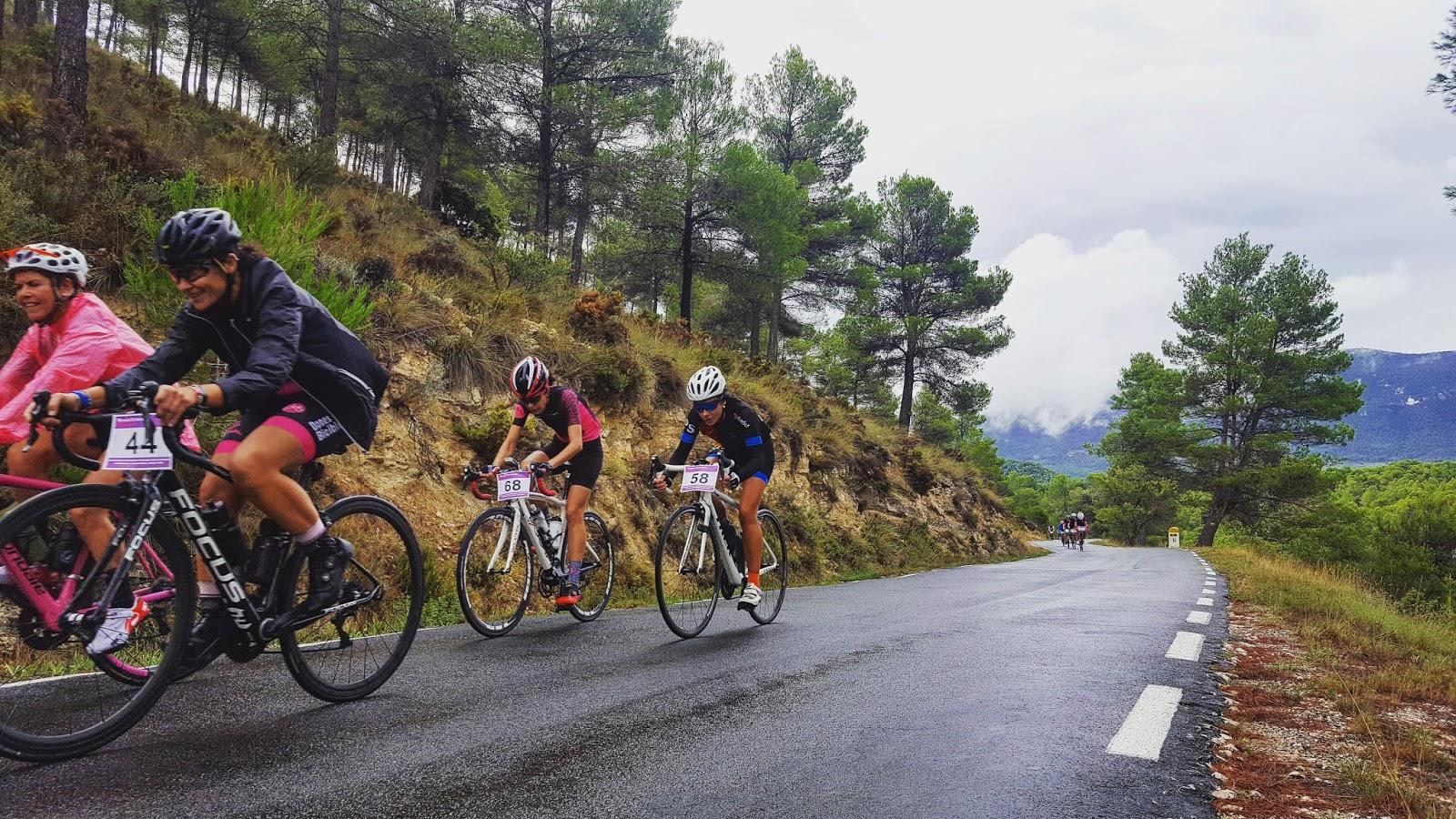 Cyclists riding in Sierra Mariola, Alicante, Spain