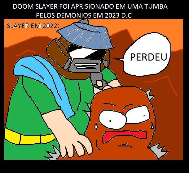DoomSlayer foi aprisionado em uma tumba pelos demônios em 2023 d.C.
