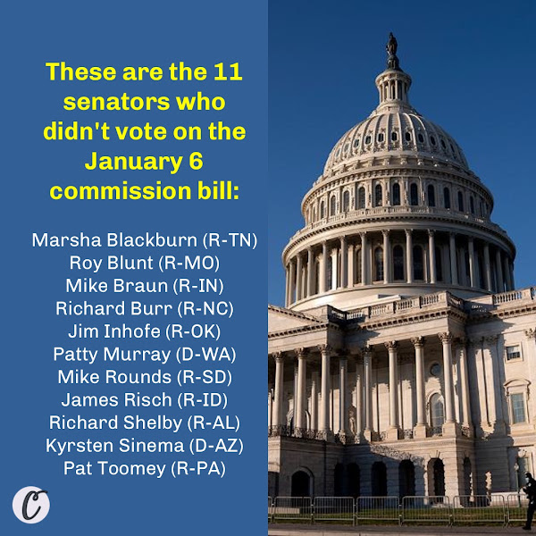 These are the 11 senators who didn't vote on the January 6 commission bill