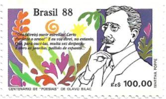 Selo Centenário de Poesias, de Olavo Bilac