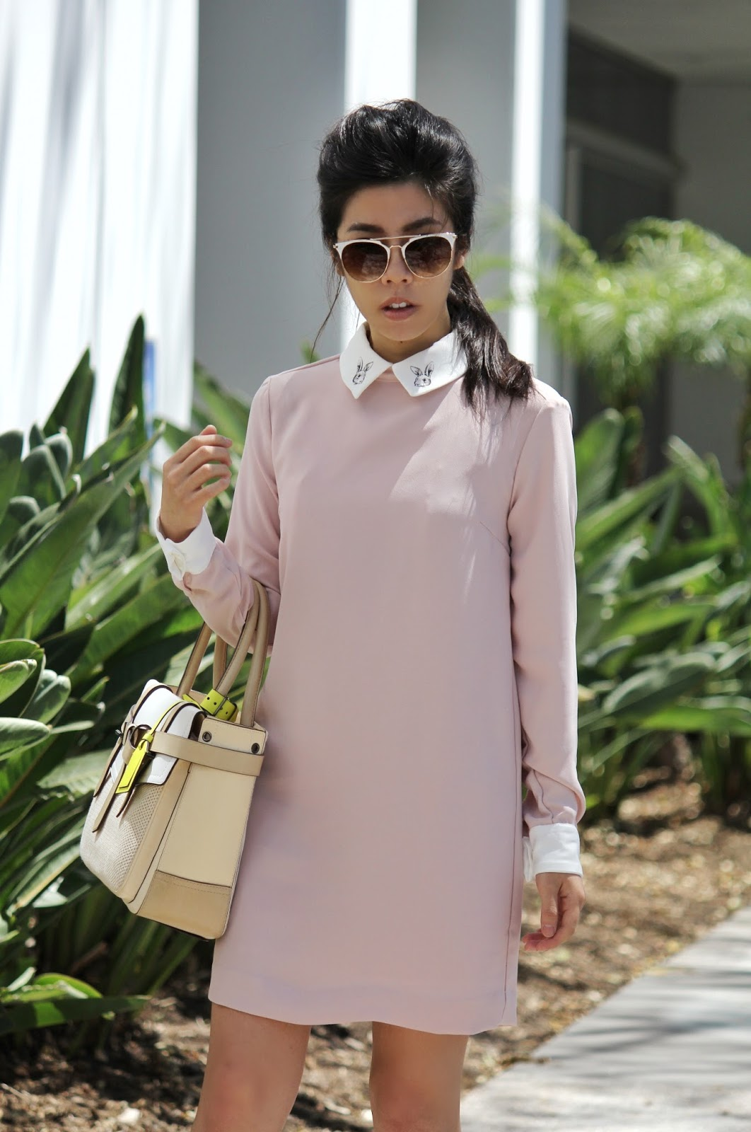 Adrienne Nguyen_Invictus_Victoria Beckham for Target Bunny Collar Pink Dress_Pink Collar Dress_How to wear Pastels at Work_What to Wear to Work in the Summer