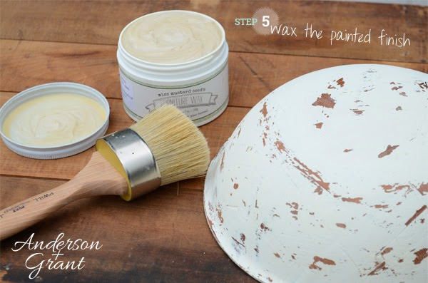 Coat the outside of the painted bowls with a coat of paste wax | www.andersonandgrant.com