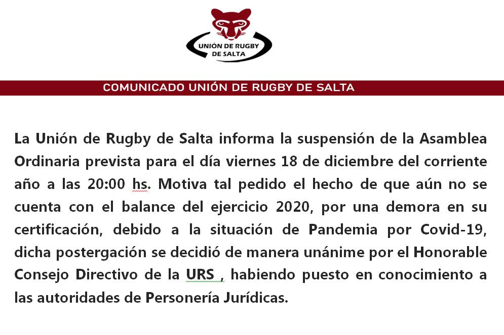 Comunicado Oficial de la Unión de Rugby de Salta