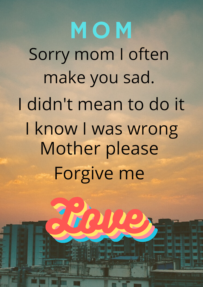 Apology greeting card to mom
