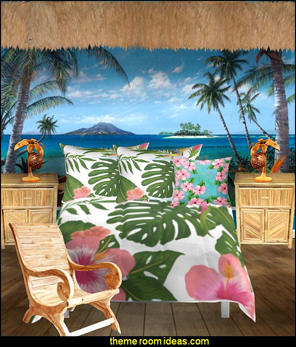 tropical beach bedroom tropical bedding palm tree  bedroom  ocean mural