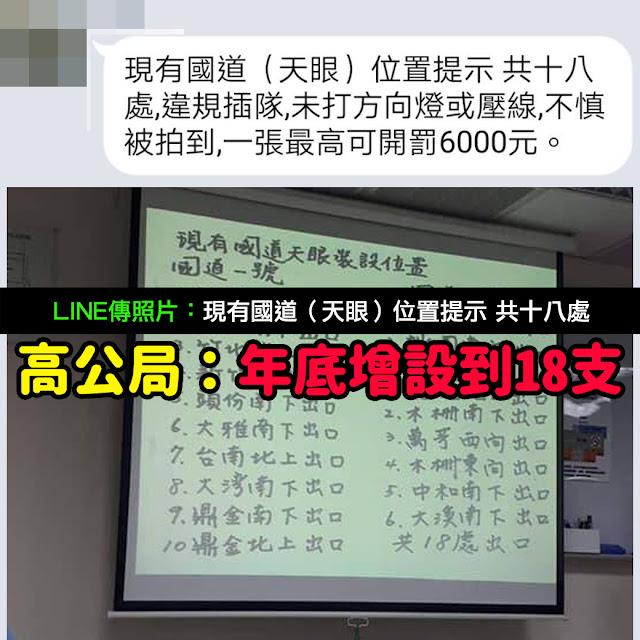 現有國道(天眼)位置提示 共十八處 LINE 一張最高可開罰6000元