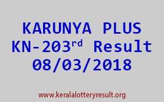 KARUNYA PLUS Lottery KN 203 Results 08-03-2018