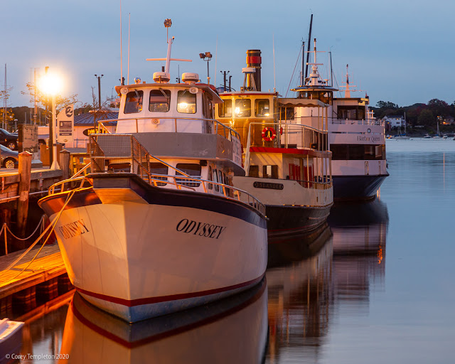 Portland, Maine USA September 2020 photo by Corey Templeton. Boats at rest along Long Wharf in the Old Port.