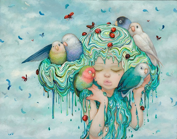 "Camilla d'Errico, ""Lovebug"" - oil on wood panel | obras de arte pop contemporaneo, pinturas, surrealismo pop, art pictures inspiration | art selecta"
