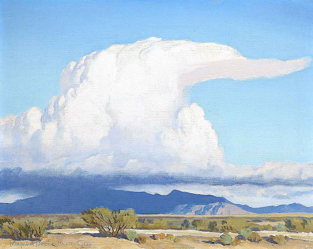 a Maynard Dixon painting of a cloud over the desert