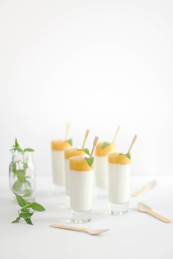 Peaches and cream panna cotta shots and my favorite for Chambre de sucre gourmet artisanal sugars