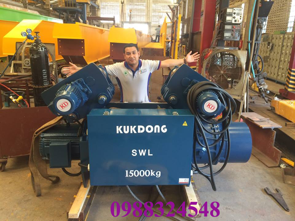 palang điện cáp Kukdong dầm đơn 15 tấn