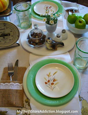 Vintage jadeite and milk glass tablescape