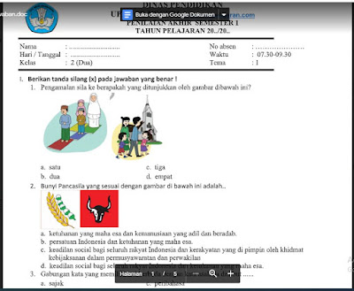 Soal PAS Tema 1 Kelas 2 Kurikulum 2013 SD/MI