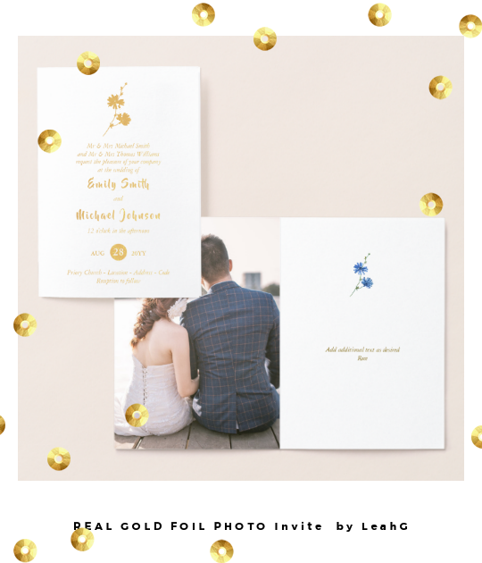 real gold foil photo wedding invitation