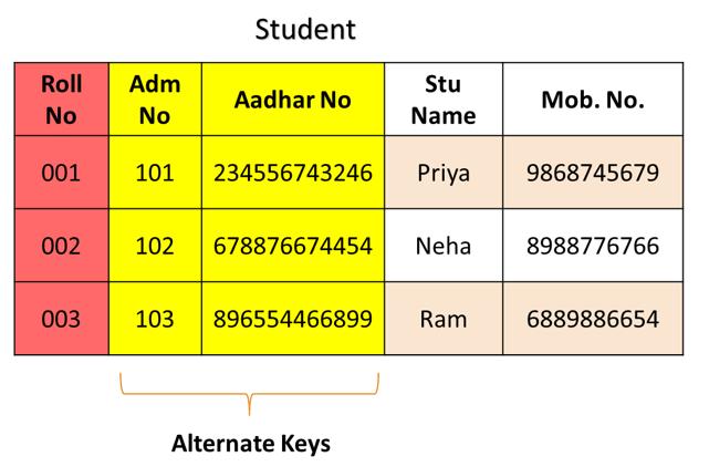 alternate key