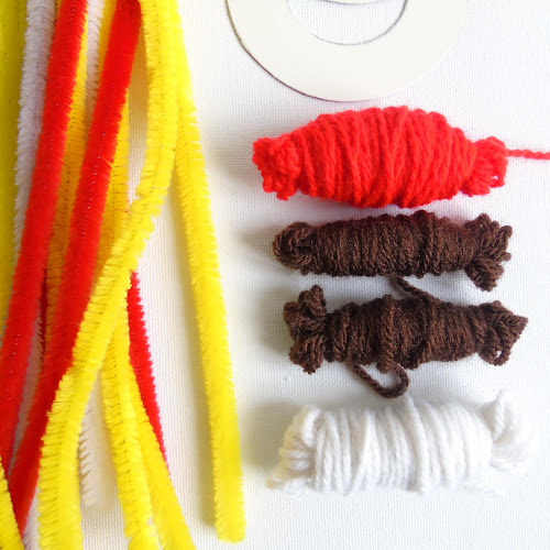brown, red and white yarn