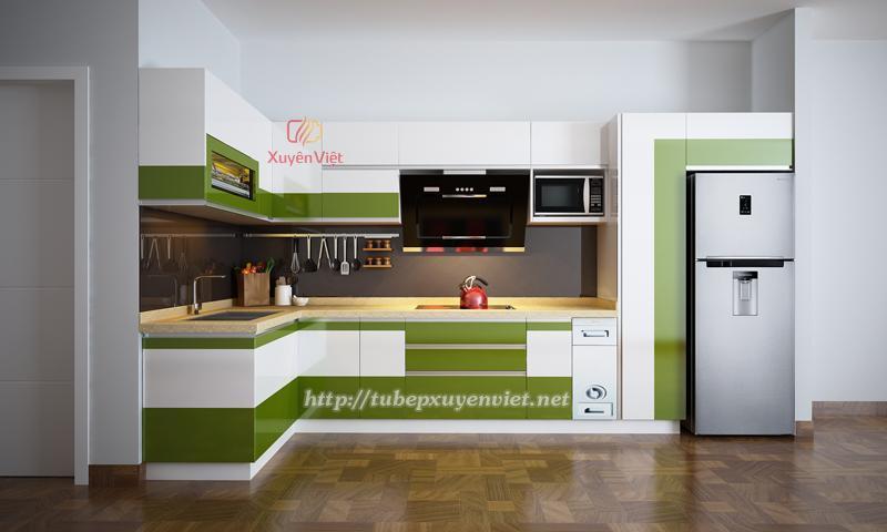 Tủ bếp đẹp chữ L màu xanh trắng trẻ trung